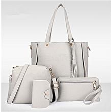 4Pcs/Set Women Faux Leather Handbag Shoulder Bag Tote Purse Messenger Clutch -grey.,