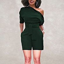 jiuhap store Women's Sexy Off Shoulder Ruffle Short Romper Fashion Casual Jumpsuit -Green