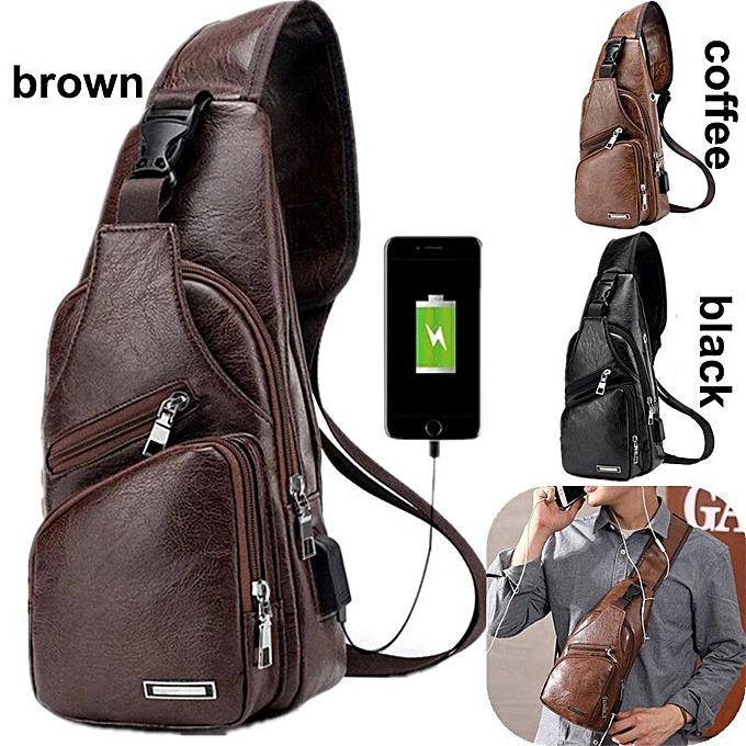 2349155f7b3b Stylish USB Chest Pouch Shoulder Sling Bag Man Classic Leather crossbody bag
