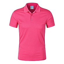 Pure Color Fashion Casual Men's Summer B Short Sleeves Polo Shirts-Hotpink
