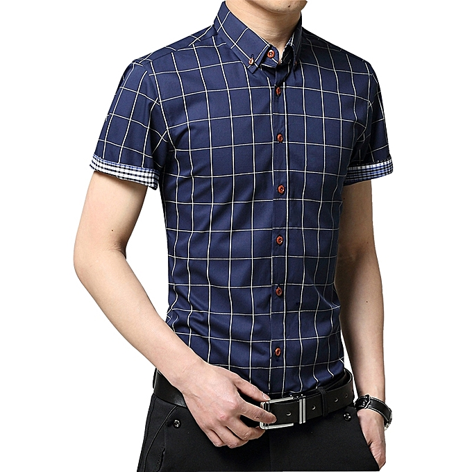 062dc6f214be ... 2019 Men s Short Sleeve Shirt Summer Business Formal Casual Plaid  Checked Top T Shirts-Dark ...
