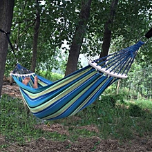 Outdoor Rollover-resistant Single Person Canvas Hammock Portable Beach Swing Bed With Wooden Sticks, Size: 200 X 80cm (blue)