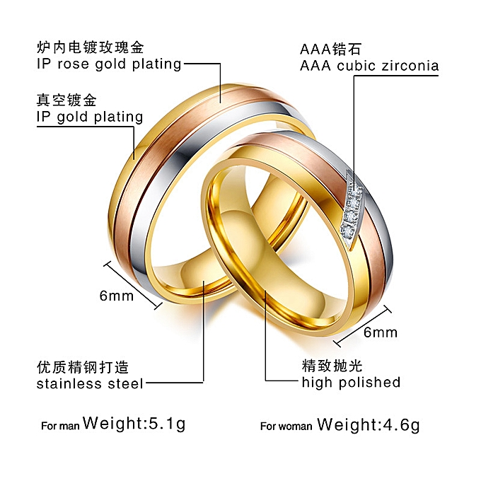 84f78addbe Trend temperament stainless steel zircon couple ring tricolor ring  CR-146-Diamond-inlaid