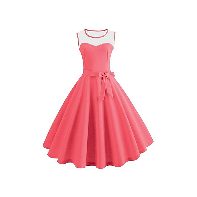 5941f494c89e Hiaojbk Store Women Vintage Bodycon Sleeveless Casual Retro Evening Party  Prom Swing Dress-Watermelon Red