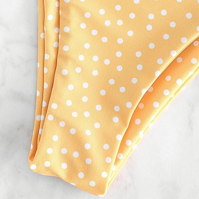 2720dfdae07 ZAFUL Padded Polka Dot Bathing Suit,Bright Yellow @ Best Price ...