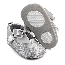 bluerdream-Fashion Baby Girl Soft Sole Bling Bowknot Anti-slip Princess Shoes SL/12- Silver