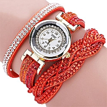 Fohting  CCQ Women Fashion Casual Analog Quartz Women Rhinestone Watch Bracelet Watch OR -Orange