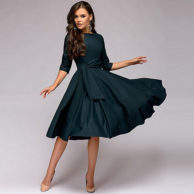 401458ed32783 Fashion Ruched Dresses Round Neck 3/4 Sleeve Pleated Swing Dress ...