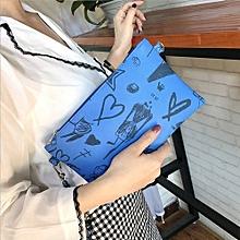 bluerdream-Fashion Graffiti Women's Clutch Bag Envelope Bag Clutch Bag Female Handbag DB-Dark Blue