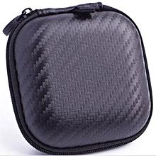 Portable Mini Square Hard Storage Case Bag for Earphone Headphone SD TF Cards-Black