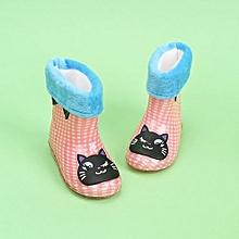 Waterproof Child Animal Rubber Infant Baby Rain Boots Kids Warm Rain Shoes- Pink