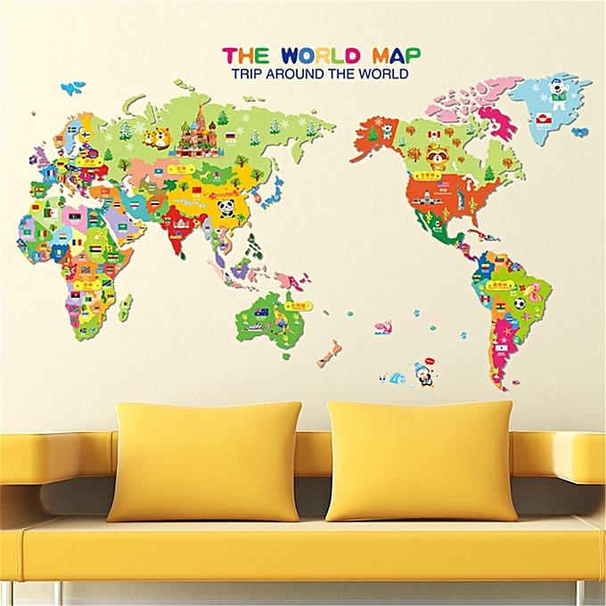 generic animal educational world map removable kids school wall
