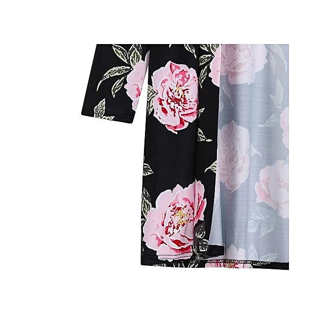 4653192abd7 Women Autumn Casual Loose Long Sleeve Print Floral Flower Long Cardigan  Coat XL
