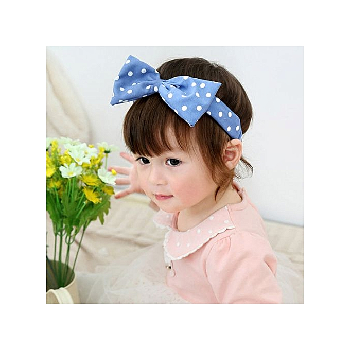 47b56e965ca Braveayong Cute Kid Baby Girls Princess Dots Bowknot Headband Elastic Hairband  Headwear -Blue