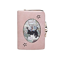 bluerdream-Student Leather Tighten Up Coin Wallet Purse Cute Student Small Clutch PK-Pink