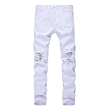 Men Skinny Light Wash Zipper Fly Jeans - White