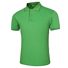 Male Solid Color Turn-down Collar Short Sleeve Polo Shirt - GREEN