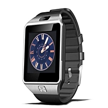 DZ09 - 1.56 Smart Watch Phone - 128MB ROM - 64MB RAM - 0.3MP Camera -  Silver with Black Straps
