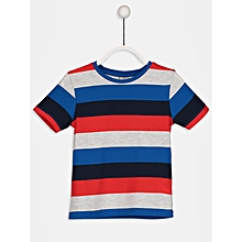Red Fashionable Striped Regular Crew Neck T-Shirt