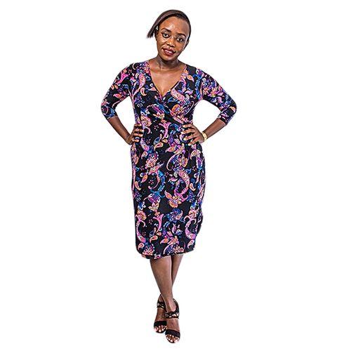 Women Beautiful Prints Wrap Around Stretch Fitting Dress – Black/Pink