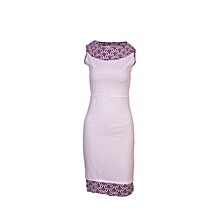 Queen's African Print Neckline Kneeline Frill Stretcher Dress White