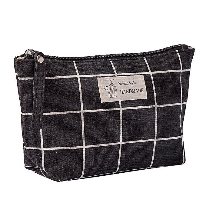 8c5596e1d15c New Plaid Travel Cosmetic Bag Women Makeup Bag Handbag Zipper Purse Small  Cosmetics Cases Portable Beauty Organizer Pouch(H)