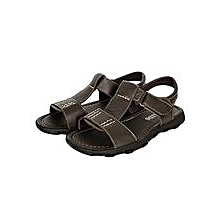 Dark/ Coffee Open Leather Sandals With Velcro Straps And A Buckle