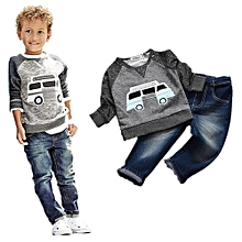 Kisnow 2 Pieces  Boys' 1-10 Years Old Cotton Shirts Sweater + Jeans Pant (Color:as Pic)