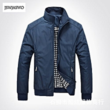 Casual Jacket Coat Men's Fashion Winter Long Sleeve Jacket Slim Fit Stand Collar-blue