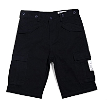 Men's Loose Breathable Cotton Cargo Shorts Summer Solid Color Mutic Pocket Shorts