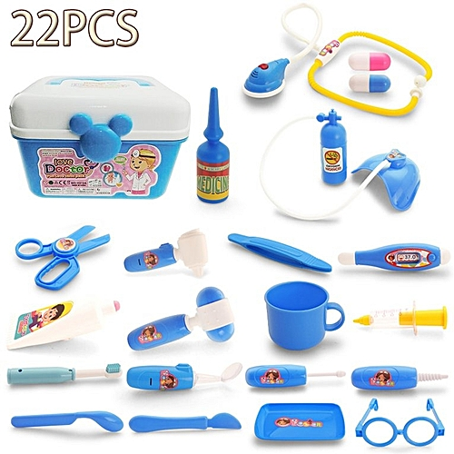 Generic HP Children Role Play Medical Kit Doctor Game Set Box Pretend Gift Blue