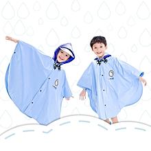 Age Above 3 Kids British Style Cartoon Reusable Cloak Raincoat Hoodies(Blue M)