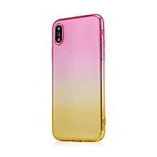Dual-Color Gradient Shockproof Soft Phone Case Cover for iPhone X 7 8 Plus 6S-Pink + Golden