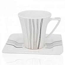 RF4309- 6/6 Cup & Saucer-Bone Chaina/Porcelain-White