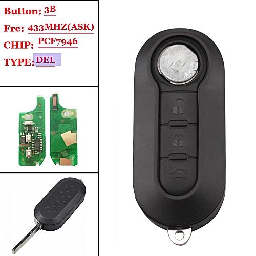 (1pcs) 3 Button Remote Key Fob 433MHz ID46 for Fiat 500L MPV Ducato DEL  system old type JOHN