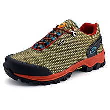 Summer New Style Men Outdoor Sprots Shoes Mesh Breathable Hiking Mountain Climing Shoes Anti-skid Men Trekking Shoes - Brown