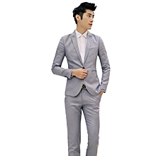 Sanwood Men Slim Fit Business Leisure One Button Formal Two-Piece Suit For Groom Wedding -Gray