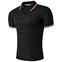Striped Sleeve Collar Polo T-Shirt - Black