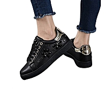 Ladies travel Sneakers Lace Up  Stylish Classic Durable Lacing Sneakers Black