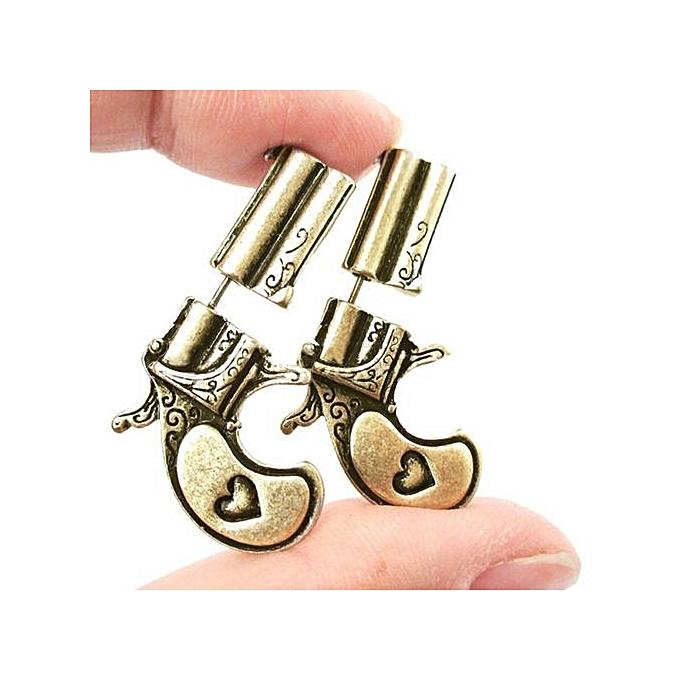 Fashion 3D Earrings Fake Double Pistol Gun Shaped Faux Plug Stud Earrings  Rock Punk Style Ear Jewelry For Women Men 372daa4179