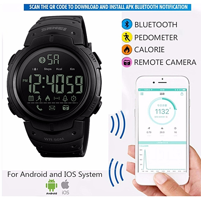 Smart Watch SKMEI Bluetooth Pedometer Calorie Remote Camera Digital  Wristwatches Fashion Sport Smartwatch For iPhone Android 1301