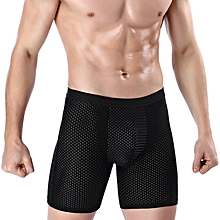Ice Silk Mesh Breathable Super Soft Comfy Elastic Men Lengthened Anti-friction Sport Boxers Briefs