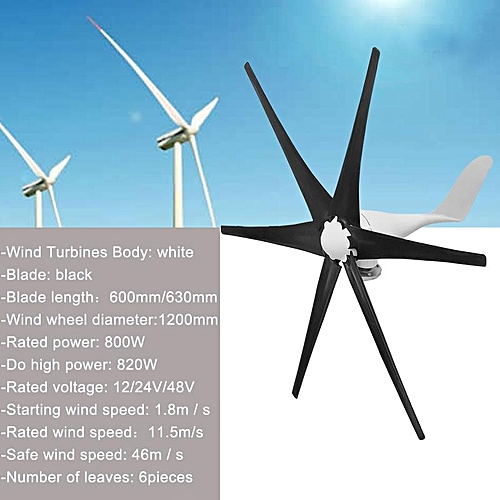 800W Wind Turbine Generator 12V/24V/48V 6 Blade Windmill Power Charge  Controller