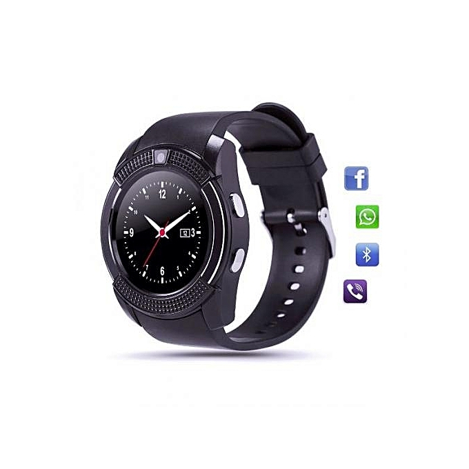 V80 Touch Screen Smart Watch Phone with SIM Slot - Black