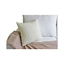 Vintage Knitted Cushion Cover Household Hand Made Pillowcase For Home Decor Travel Using - White