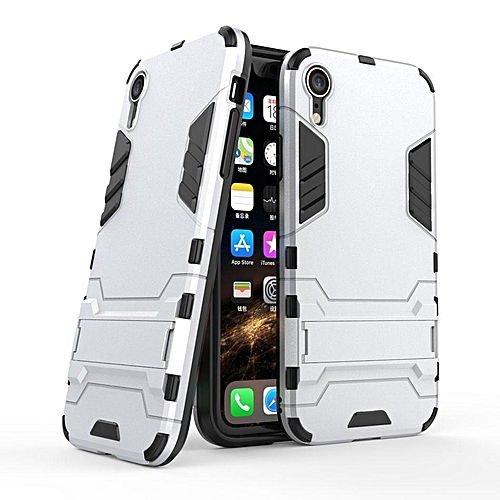watch 8761f a9a43 Armor Back Cover For Apple iPhone Xr (6.1 inch) Case 2 in 1 Style Hard  PC+Soft TPU Fundas Kickstand Coque For iPhone Xr