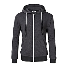 MrWonder Men's Casual Lightweight Long Sleeve Zip Up Hoodie Sweatshirt With Kangaroo Pocket Color:Dark Grey Size:M