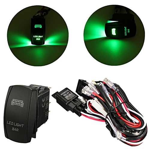 12V LED Light Bar Laser Rocker On/Off Switch Wiring Harness 40A Relay Dc Wiring Harness Led on