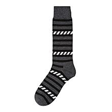 New Fashion Man Stripe  Print Color Block Cotton Sock Colorful Casual Sock