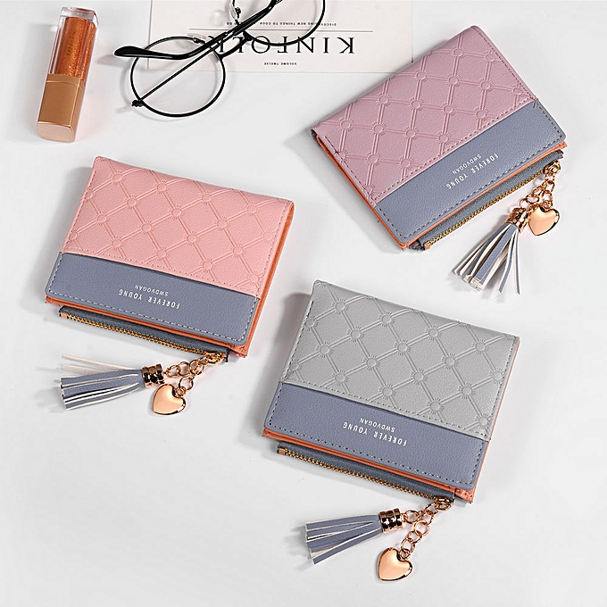 ef9845b442ae Tel Wallet Female Coins Cute Wallet Women Small Leather Women Wallets  Zipper Purses Portefeuille Wallet Female Purse Clutch(Purple)